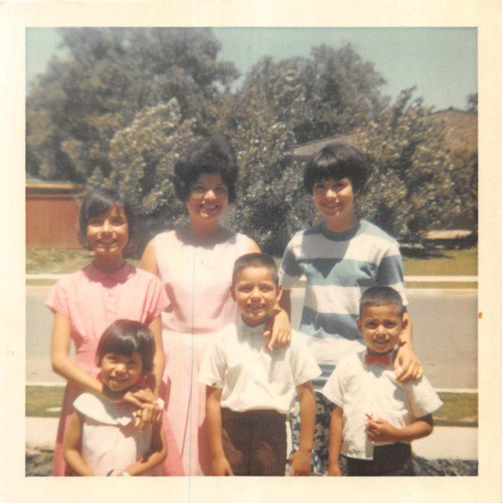 1960s Walnut Creek Easter Sunday with Joyce, Joe, Matt, Mich, mom & Kathie