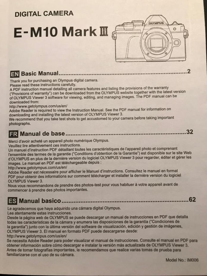 Olympus E-M10 Mark III manual cover